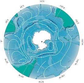 Diagram detailing Antarctic convergence, where the cold waters of the Antarctic circumpolar current meet and mingle with warmer waters to the north.