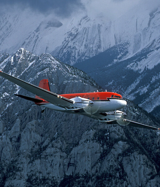 A ski-equipped Basler BT-67 turboprop in flight