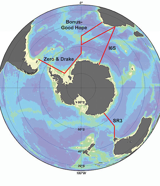 Southern Ocean transects occupied during the International Polar Year superimposed on world map