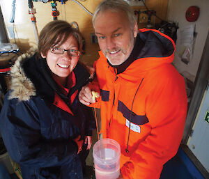 Dr Bettina Meyer (left) and Dr Ulrich Freier from the Alfred Wegener Institute of Polar and Marine Science onboard the Aurora Australis in October 2012.