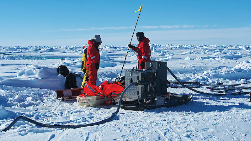 A sled-based krill pump on the ice in Antarctica