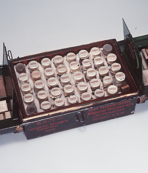 A Burroughs Wellcome & Co Ltd (Australia) Ltd Sydney medical chest used by the British, Australian and New Zealand Antarctic Research Expedition (BANZARE).