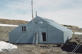 Biscoe Hut when it was first constructed as a kitchen and mess hut in 1955.