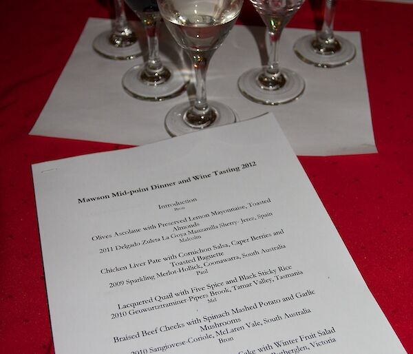 Five glasses of wine arranged for tasting with a menu lying in front of them on a dinner table