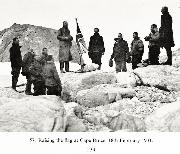 "Hurley's photo of Mawson and his men at Cape Bruce on 18th February 1931, copied from page 234 of ""B.A.N.Z. Antarctic Research Expedition 1929–31, Reports-Series A, Volume 1, Geographical Report"", based on the ""Mawson Papers"" by A Grenfell Price, Adelaide (1963)."