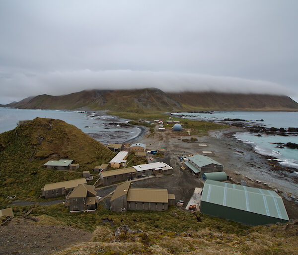 View of buildings on Macquarie Island from above.