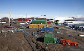 Aerial shot of Mawson research station
