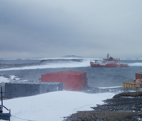 The Aurora Australis grounded in Horseshoe Harbour, from Mawson research station