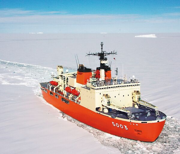 The Japanese icebreaker, Shirase.
