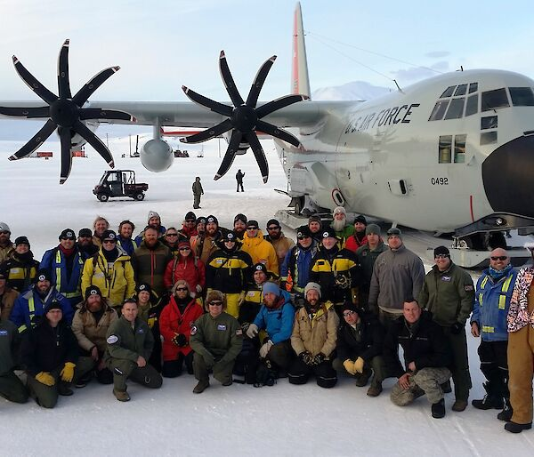 Expeditioners from Davis with an LC130 plane at McMurdo