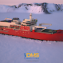 A graphic of the new icebreaker in the ice