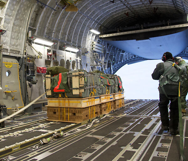 Cargo inside C-17A ready to be dropped.