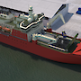 A graphic of the new icebreaker alongside the wharf