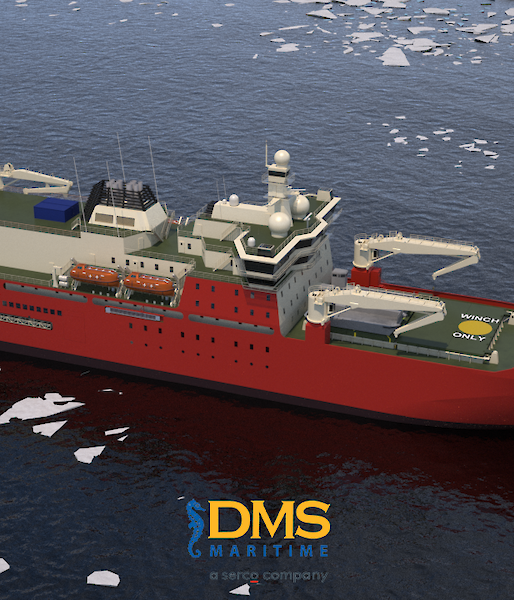 A graphic of the new icebreaker amongst the pack ice