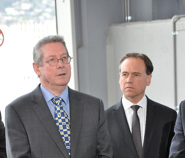 Dr Tony Press and Minister Greg Hunt at the press conference
