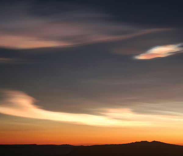 Nacreous clouds or 'mother of pearl' clouds photographed in the sky over Mawson, Antarctica.