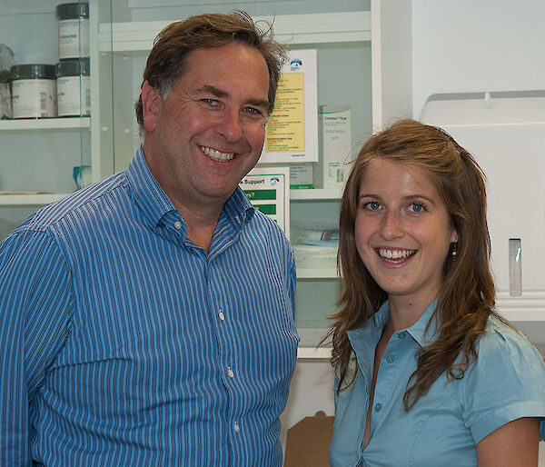 Australian Antarctic Division Chief Medical Officer, Dr Jeff Ayton, with medical student Jessie Ling.