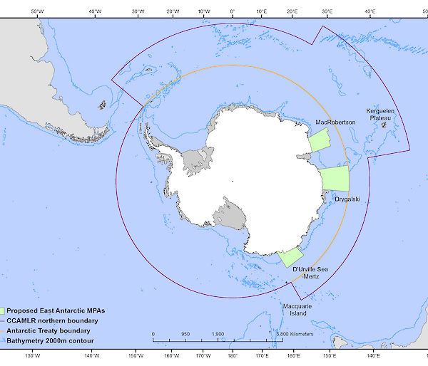 Map of Antarctica with marine protected areas marked out in lines