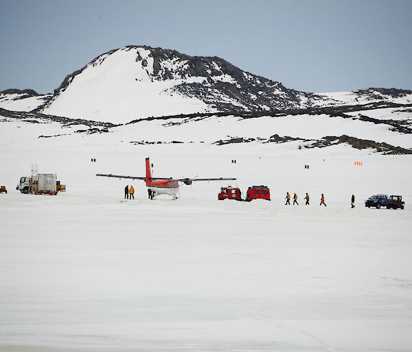 The Twin Otter at Davis station after recovering the injured expeditioners from the Amery Ice Shelf in Antarctica
