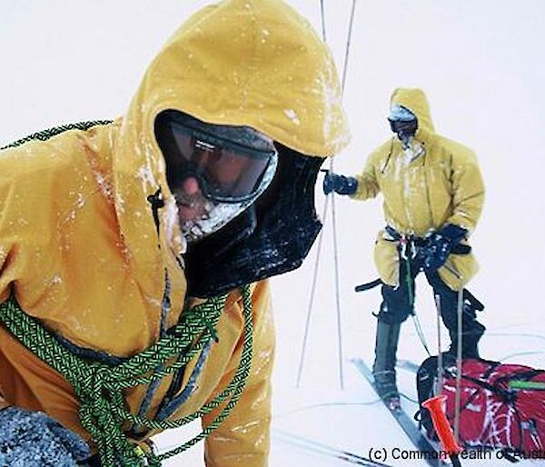 Expeditioners in bad weather