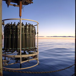 A 'CTD' (conductivity, temperature, depth) instrument deployed at sunrise on the Marine Science SR3 Transect and Mertz Glacier voyage
