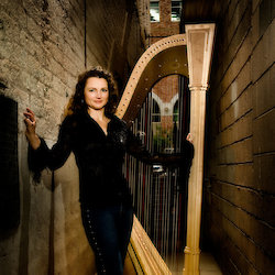 Alice Giles with harp