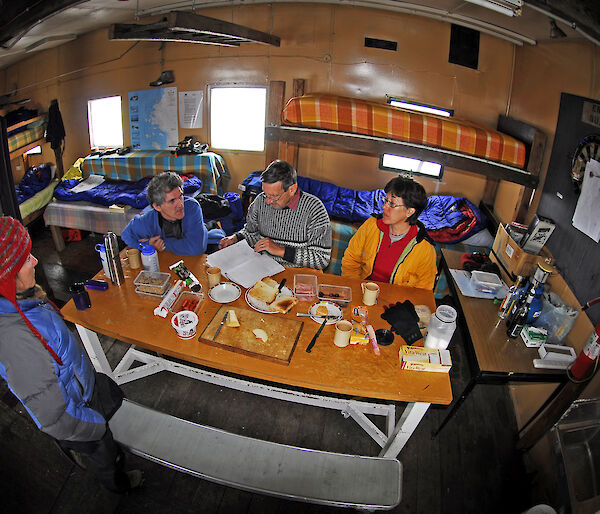 Fish-eye view of expeditioners at Wilkes station