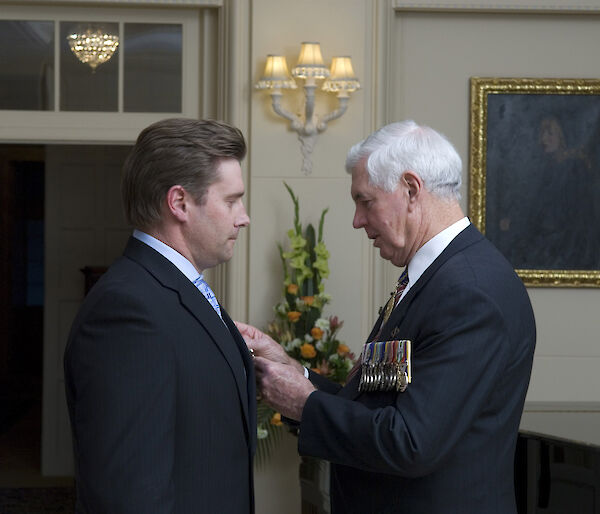 Matt Filipowski received his Antarctic Medal from the Governor-General at a ceremony at Government House in Canberra.