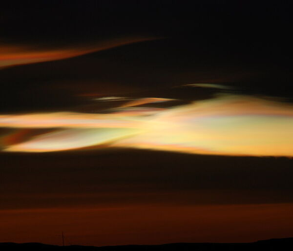 Nacreous clouds at Mawson after sunset.