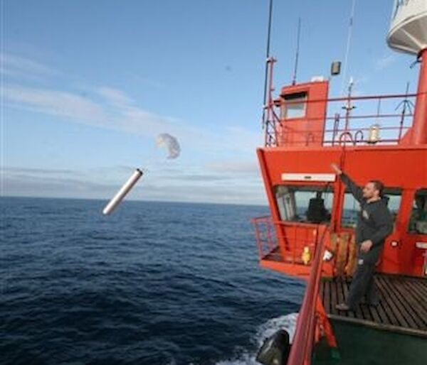 A sonobuoy being released from the Aurora Australis