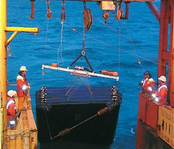Deploying a net from the trawl deck of the Aurora Australis