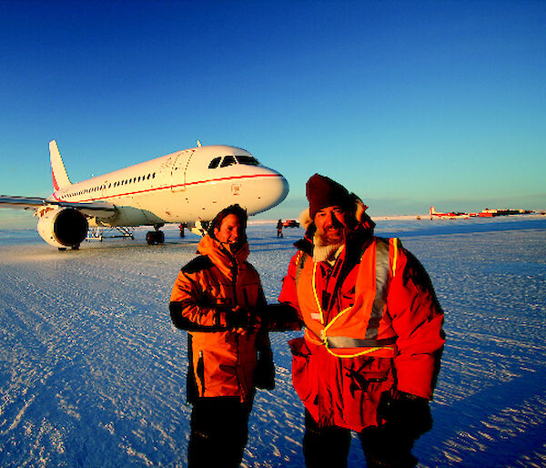 The A319 at Wilkins Runway, Antarctica.