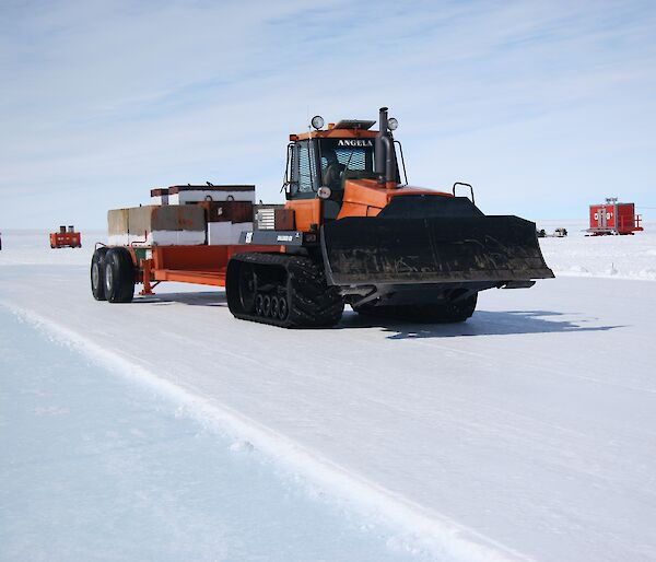 C130 proof-rolling the snow pavement at Wilkins blue ice runway