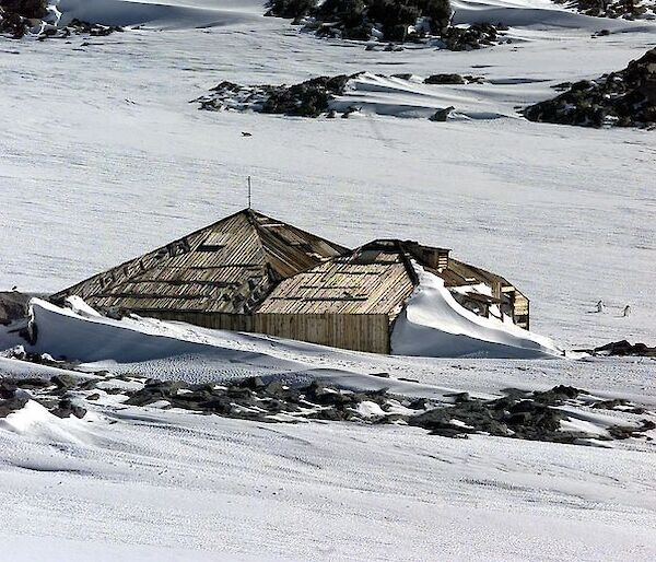 Mawson's Huts filled with snow
