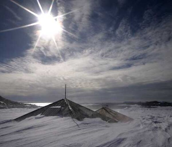 Mawson's Huts buried in hard snow