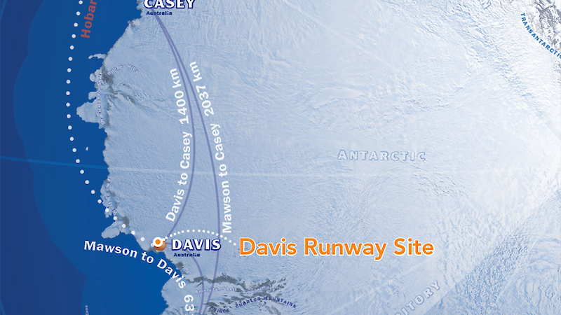 A map showing the location of the paved runway.