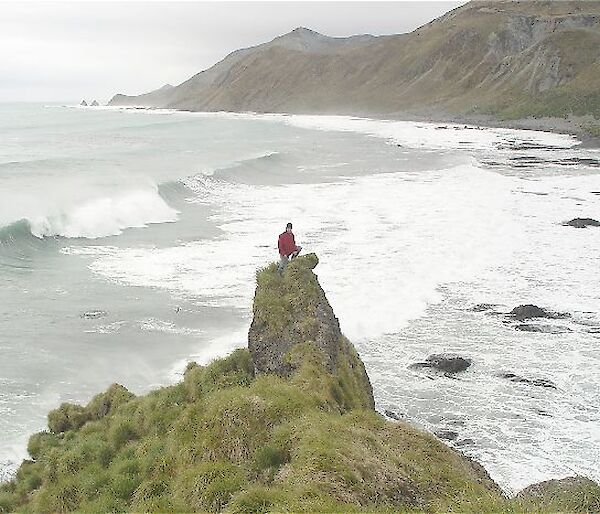 Expeditioner atop a rocky hill on Macquarie Island