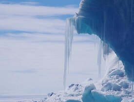 Icicles hanging from an iceberg