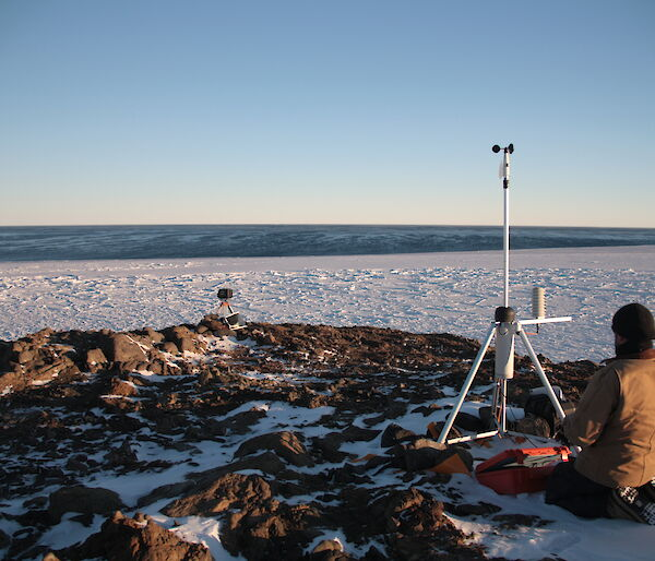 Adam working on the automatic weather station at Kazak Island