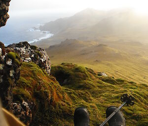 A view of Macquarie Island shore from a grass covered cliff/slope