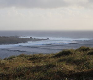 A view from grassy hillock of high waves cascading to shore