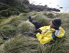 Clive sitting amongst the tussock overlooking the rocky coast of Caroline Cove