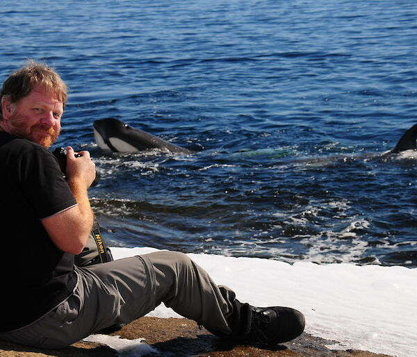 Craig with Orcas