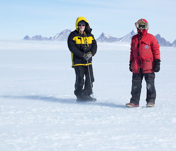 On the Mawson plateau checking the cane lines bedded into the ice