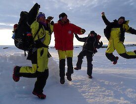 Expeditioners jump for joy at survival training