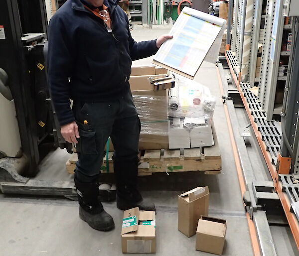 Expeditioner holding a spreadsheet surrounded by electronics stock