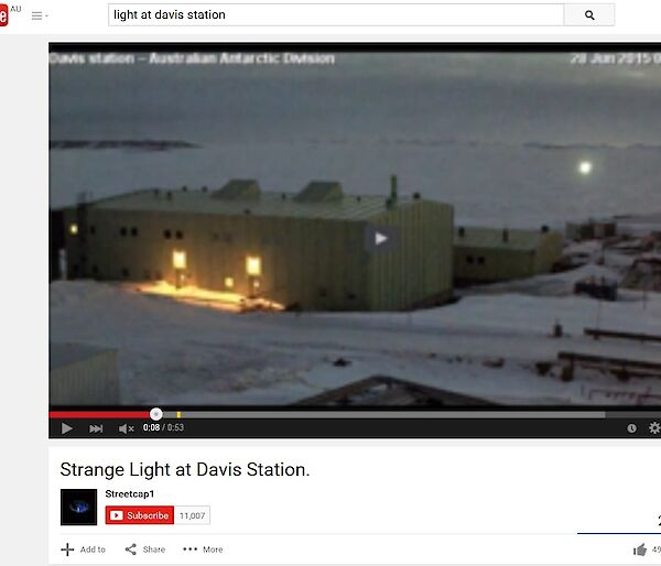Still frame from YouTube depicting a 'mysterious light' on the Davis webcam