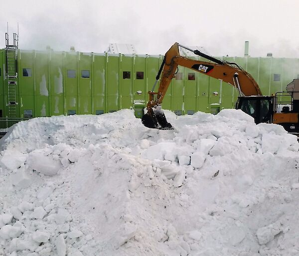 An excavator clears snow in foreground with a large green building in background