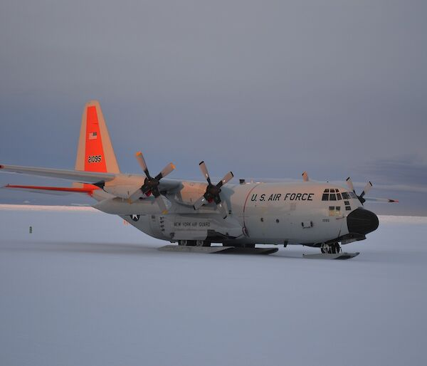A cargo plane on the snow