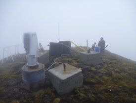 Rob working at the Mt Waite repeater station in the fog
